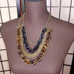 Jewelry - Black & Tortoise Layered Necklace